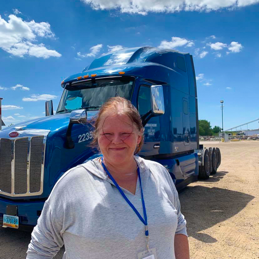Heather in front of truck