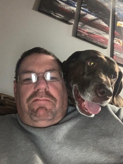Driver Trainer Sean w/ dog